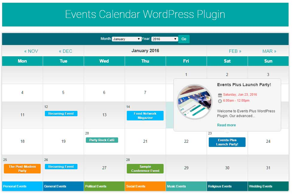 WordPress Events Calendar Registration & Booking